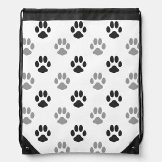 Cute Black And White Paw Prints Pattern Drawstring Bag