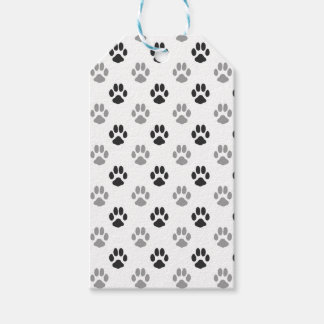 Cute Black And White Paw Prints Pattern Gift Tags