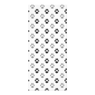 Cute Black And White Paw Prints Pattern Rack Card