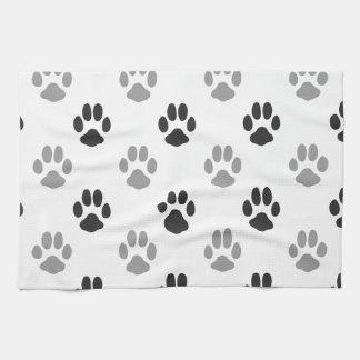 Cute Black And White Paw Prints Pattern Tea Towel