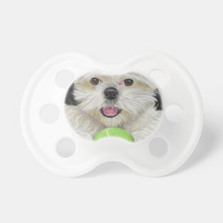 Cute Black and White Shih Tzu with a Tennis Ball Dummy