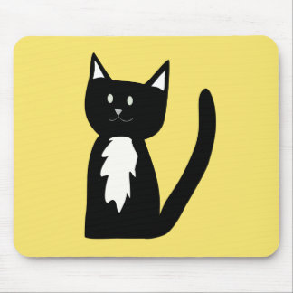 Cute Black and White Tuxedo Cat Mouse Pad