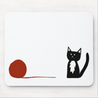 Cute Black and White Tuxedo Cat with Yarn Mouse Pad