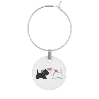 Cute black and white Westie dogs art Wine Charm