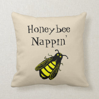 Cute Black and Yellow Honeybee with Fun Text Cushion