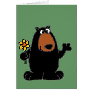 Cute Black Bear with Daffodil Cartoon Card