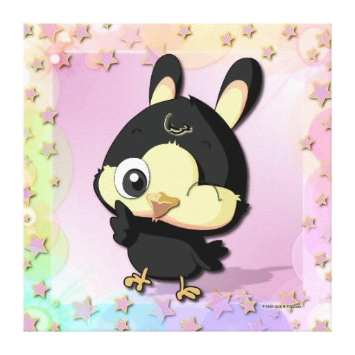 Cute Black Bird Funny Cartoon Character Canvas Canvas Prints
