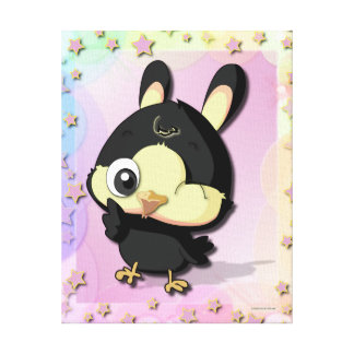 Cute Black Bird Funny Cartoon Character Canvas Canvas Prints