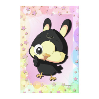 Cute Black Bird Funny Cartoon Character Canvas Stretched Canvas Print