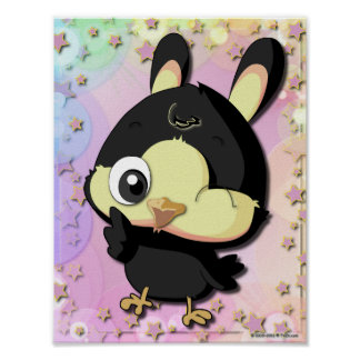 Cute Black Bird Funny Cartoon Character Poster