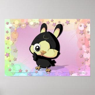 Cute Black Bird Funny Cartoon Character Poster