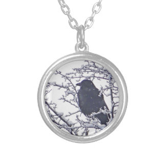 Cute black bird in snowy branches silver plated necklace