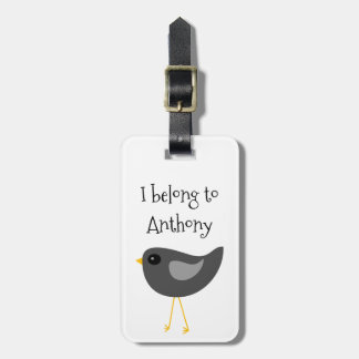 Cute black bird luggage tag