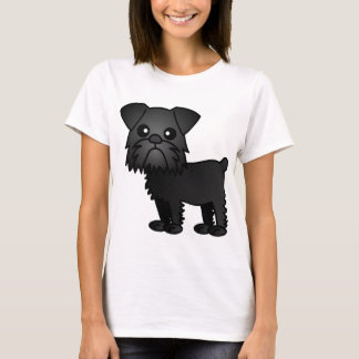 Cute Black Brussels Griffon Cartoon T-Shirt