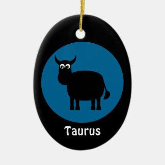 Cute Black Bull Taurus Zodiac Sign Custom Blue Ceramic Oval Decoration