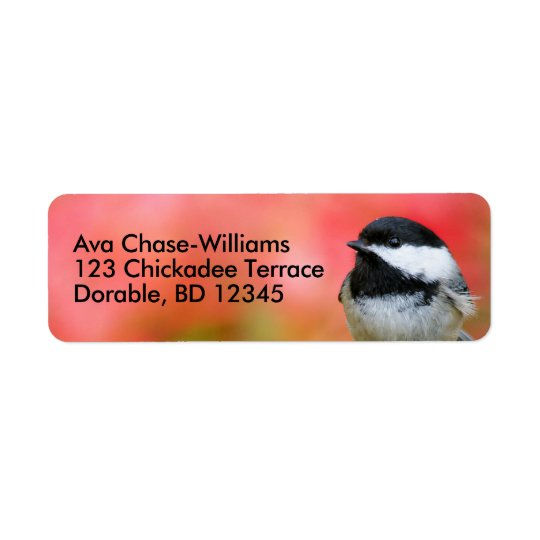 Cute Black-Capped Chickadee on the Apple Tree Return Address Label