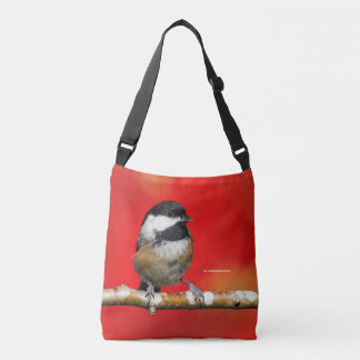 Cute Black-Capped Chickadee with Red Autumn Leaves Crossbody Bag