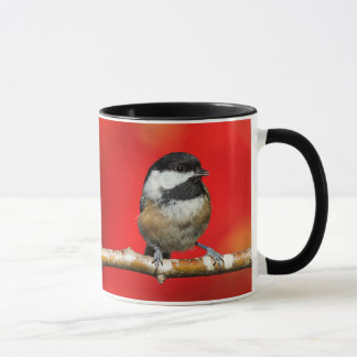 Cute Black-Capped Chickadee with Red Autumn Leaves Mug