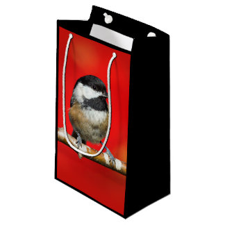 Cute Black-Capped Chickadee with Red Autumn Leaves Small Gift Bag