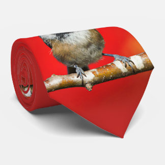 Cute Black-Capped Chickadee with Red Autumn Leaves Tie