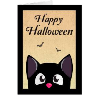 Cute Black Cartoon Cat for Halloween Greeting Card