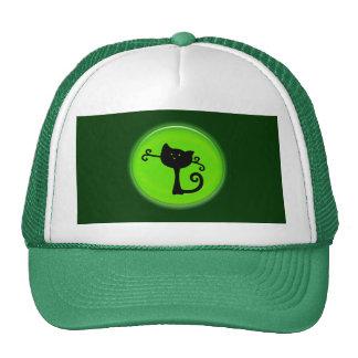 Cute Black Cartoon Cat in Green Hat