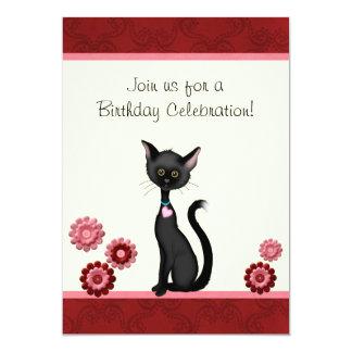 Cute Black Cat and Flowers Birthday Invitation