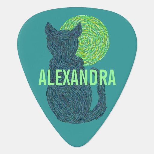 Cute Black Cat And The Moon Musician Personalized Guitar Pick