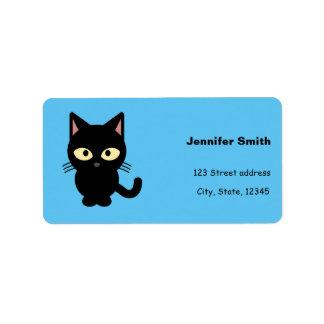 Cute black cat cartoon address label