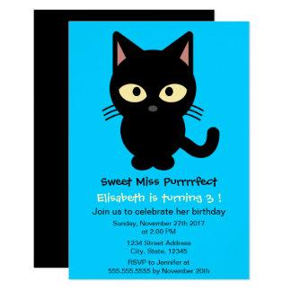 Cute black cat cartoon blue girl birthday party card