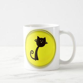 Cute Black Cat Cartoon in Yellow 3D Circle Design Coffee Mug