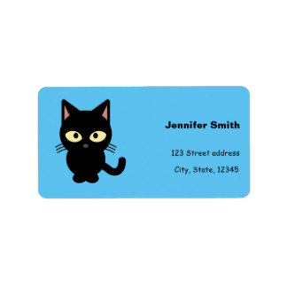 Cute black cat cartoon label
