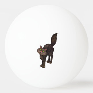 Cute Black Cat Green Eyes Ping Pong Ball