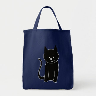Cute Black Cat Grocery Tote Bag