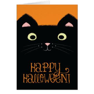Cute Black Cat Halloween Card