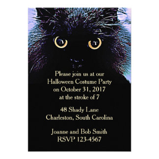 Cute Black Cat Halloween Invitation