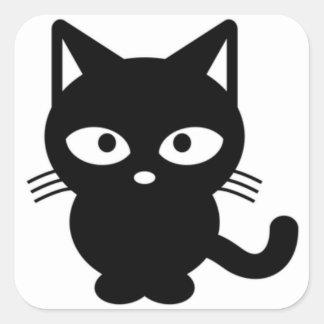 Cute Black Cat Halloween Kitty Square Sticker