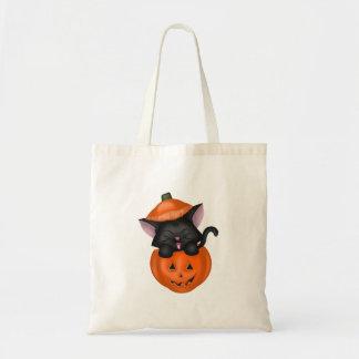 Cute Black Cat in a Pumpkin Budget Tote Bag