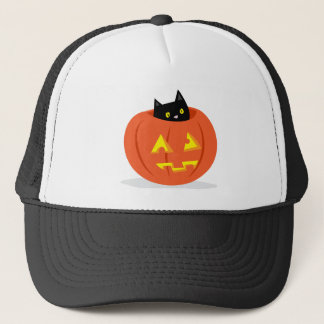 Cute Black Cat in Jack O Lantern Halloween Hat