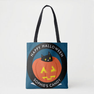 Cute Black Cat in Jack-O-Lantern Halloween Tote Bag