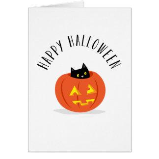 Cute Black Cat in Jack O Lantern Happy Halloween Card