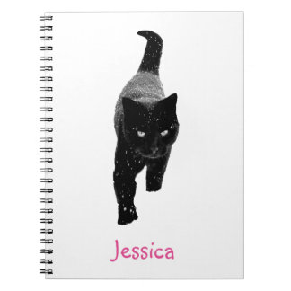 Cute Black Cat in the White Snow Girly Name Notebooks