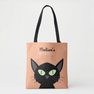 Cute Black Cat Kids Halloween Tote Bag