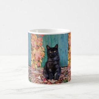 Cute Black Cat Kitten with Red Leaves Blue Door : Coffee Mug
