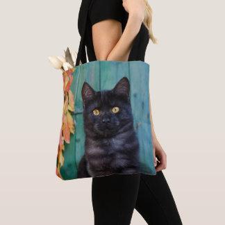 Cute Black Cat Kitten with Red Leaves Blue Door .. Tote Bag