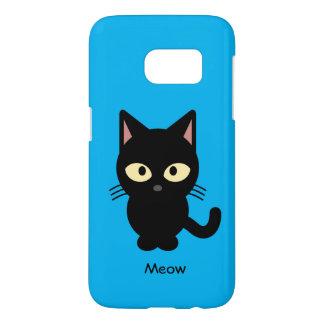 Cute black cat meow cartoon