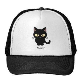 Cute black cat meow cartoon cap