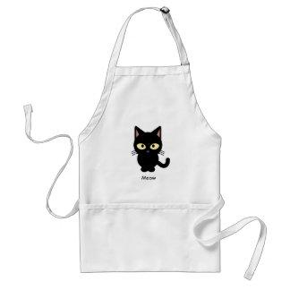 Cute black cat meow cartoon standard apron