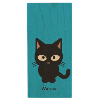 Cute black cat meow cartoon wood USB flash drive