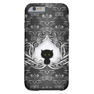 Cute Black Cat on Damask Tough iPhone 6 Case